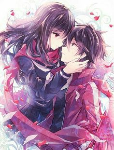 Anime picture with kagerou project shaft (studio) tateyama ayano kisaragi shintarou kabocha torute long hair tall image short hair red eyes brown hair smile signed pleated skirt collarbone open jacket face to face eye contact hand on face dated girl Couple Manga, Anime Couple Kiss, Couples Anime, Couples Cosplay, Anime Couples Hugging, Couple Hugging, Sakura Anime, Anime Naruto, Anime Angel