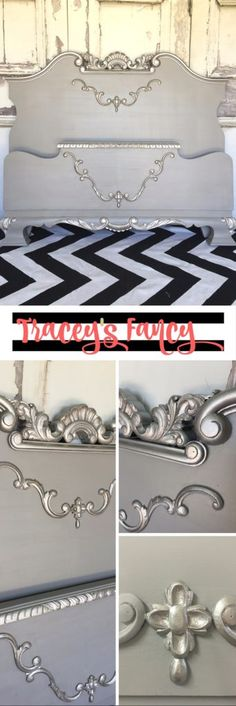 Elegant Old Hollywood Bed - Tracey's Fancy - A gorgeous headboard furniture makeover using Heirloom Tradition's Repose and Modern Masters Platinum