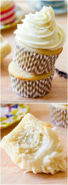 My favorite homemade very vanilla cupcakes recipe. Ditch that boxed mix, these are better! Gourmet Cupcakes, Baking Cupcakes, Cupcake Recipes, Cupcake Cakes, Dessert Recipes, Desserts, Easter Cupcakes, Flower Cupcakes, Christmas Cupcakes