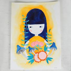 girl with flowers and mushrooms watercolor hand draw illustration in blue and orange, for kids room decor  - by PinkNounou