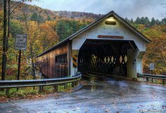 The West Dummerston Covered Bridge crossing the West River was built in 1872 and is the second longest covered wooden highway bridge wholly within the state of Vermont, and the longest covered bridge still open to traffic. Love Rain, Covered Bridges, Rainy Days, Small Towns, Dream Life, Vermont, New England, Old Things, Country