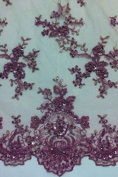"""Rose Pink Mesh w Embroidery Beads Sequins Bridal Lace Fabric 52"""" by The Yard   eBay"""