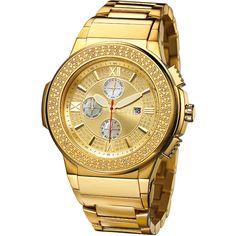JBW Men's Men's Saxon Watch - Gold ($259) ❤ liked on Polyvore featuring men's fashion, men's jewelry, men's watches, gold, men's blue dial watches, mens gold watches, mens watches, mens watches jewelry and mens diamond bezel watches
