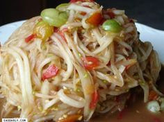 I love to eat Lao Green Papaya Salad, pretty much all year round. There is just something about the taste of the spicy, sweet, and sour combination of the dish to make your taste buds dance.