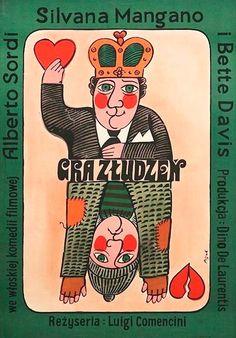Polish Movie Poster by Jerzy Flisak, 1974, 'The Scientific Cardplayer' Italy dir. by L. Comencini.