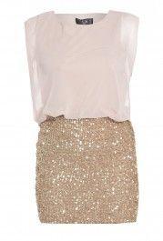Sequin Gold Chiffon Dress