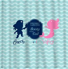 Pirate & Mermaid Shared Shower Curtain -Hot Pink, Navy, Sea Blue and White Combination - Novelty Saying - 3 versions  Graphics by DZS Designs  Colors