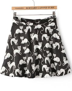 Black Cats Print A Line Skirt US$18.63
