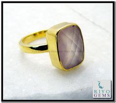 Rose Quartz Gems Stones 18 Kt Y.G. Plated Friendship Ring Sz 9 Gprroq9-6839 http://www.riyogems.com