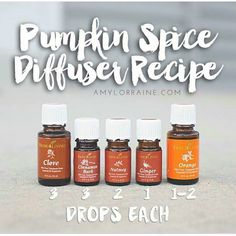 The BEST pumpkin spice essential oil diffuser recipe! Check out this great Fall recipe and make your house smell great without candles. #pumpkinspice #diffuser #diffuserrecipe #essentialoils #ditchthecandles #healthyliving Diffuser Recipes, Young Living Clove, Young Living Oils, Young Living Essential Oils, Cinnamon Bark Essential Oil, Essential Oil Uses, Ginger Essential Oil, Essential Oil Diffuser Blends, Natural Essential Oils