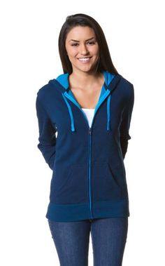 Two-Color Deluxe Fleece Zip Hood - BLUE