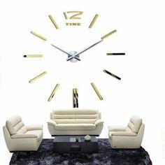 New hot sale clock watch wall stickers clocks home decoration modern quartz diy 3d acrylic Mirror Metal