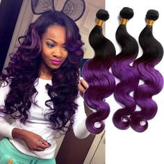 Vogue New 50g/pc High Quality Purple Ombre Body Wave Real Human Hair Extensions #WIGISS #HairExtension