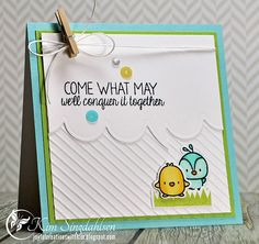 'Come What May' Card with sequins by atsamom, via Flickr - Trio of sequins, Embossed background, Mini Clothespin & Twine bow . . .