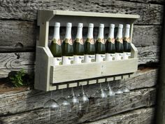 Wine Rack, Unique Wine Rack, Rustic Wine Rack, Cottage Home Decor, Wedding Gift, Christmas Gift, Wall Wine Rack, Painted Furniture, Pallet on Etsy, $105.00