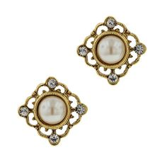 Gold-Tone Simulated Pearl Button EarringsFaux pearl  Victorian inspired stud button earrings that feature petite Austrian crystals set in antiqued gold tone.#vintagejewelry #fashionjewelry #costumejewelry #bridaljewelry #antiquejewelry
