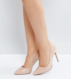 ASOS PARIS Wide Fit Pointed High Heels - Beige