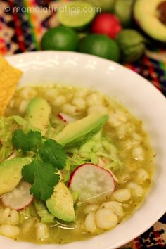 This green pozole with chicken recipe is exactly like we made it at home in Mexico when I was growing up. A delightful combination of chicken, tomatillos, cilantro, garlic & spices. Photos and step by step instructions included. Mexican Cooking, Mexican Food Recipes, New Recipes, Soup Recipes, Chicken Recipes, Cooking Recipes, Favorite Recipes, Healthy Recipes, Ethnic Recipes