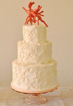 Sea Star and Coral Beach Wedding Cake classy!