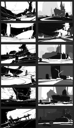 Environment Sketch, Environment Painting, Environment Design, Digital Painting Tutorials, Digital Art Tutorial, Landscape Concept, Landscape Art, Bg Design, Thumbnail Sketches