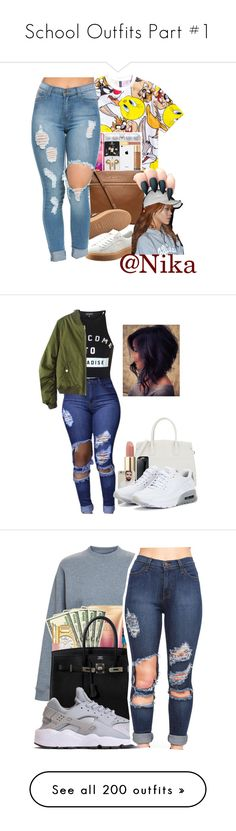"""""""School Outfits Part #1"""" by bbyblu-glitch ❤ liked on Polyvore featuring H&M, MICHAEL Michael Kors, Puma, Narciso Rodriguez, Lancôme, NIKE, beauty, Acne Studios, WearAll and Forever 21"""