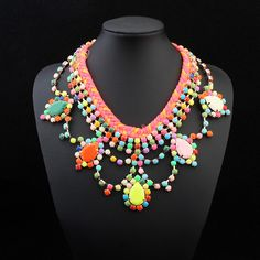 Fashion Statement Necklace, Resin, with Zinc Alloy, with 5cm extender chain
