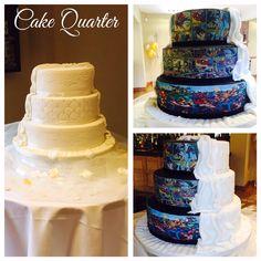 Half white half marvel comic strip wedding cake!   Bespoke wedding cakes tailored to compliment your wedding day! Designed by cake Quarter  0121507646  www.cakequarter.co.uk