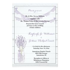 Lavender and Lace Wedding Collection Invite This elegant yet rustic wedding invitation is perfect for your shabby chic, rustic or garden themed wedding. Featuring a whitewashed wooden background, lace garlands and a mason jar decorated with lace it is simply beautiful! All text front and back is fully customizable and all of the pieces you need for your wedding collection are available. If you need any help simply message me.