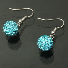 [$1.43] Diamond Beaded Style Shamballa Earrings / Disco Earrings