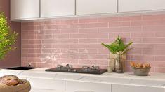 8062-Pink Subway Tile Pink Kitchen Tile Ideas, Pink Kitchen Walls, Pink And Grey Kitchen, Metro Tiles Kitchen, Grey Kitchen Interior, Subway Tile Kitchen, Living Room Kitchen, Subway Tiles, Grey Wall Tiles