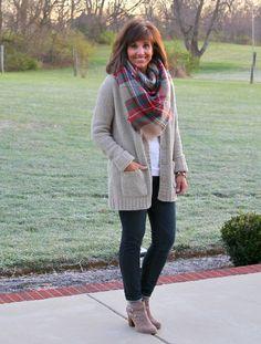 Target blanket scarf  and Merona Women's Chenille Cardigan in Gentle Brown