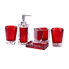 Cheap toothbrush holder, Buy Quality set bathroom accessories directly from China bath set Suppliers: 5 Pcs Resin Bath Set Bathroom Accessories Soap Dish +Toothbrush Holder+Lotion Dispenser+Tumblers 2017 Bathroom Red, Bathroom Fixtures, Bathroom Storage, Bathroom Ideas, Small Storage Shelves, Dry Food Storage, Storage Containers, Red Bathroom Accessories, Dish Soap Dispenser