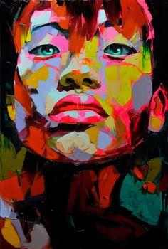Incredible oil paint portrait by Françoise Nielly. L'art Du Portrait, Abstract Portrait, Pop Art, Images D'art, Art Visage, Art Mural, Face Art, Art Pictures, Unique Art