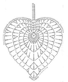 Ideas Crochet Heart Diagram Link For 2019 Appliques Au Crochet, Crochet Leaf Patterns, Crochet Leaves, Crochet Motifs, Crochet Squares, Crochet Designs, Crochet Doilies, Crochet Flowers, Crochet Stitches