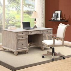 Coventry Executive Desk in Weathered Driftwood | Nebraska Furniture Mart
