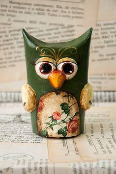 Paper mache owl... Toilet paper tube base