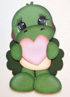 Made to order valentine turtle handmade paper piecings by My tear bears by Kira    pattern is from little scraps of heaven    My creations are of