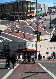 """Crosswalks in Oakland, California's Chinatown is one of four pedestrian """"scrambles"""" intended to cut down on accidents and injuries when traffic gets heavy."""