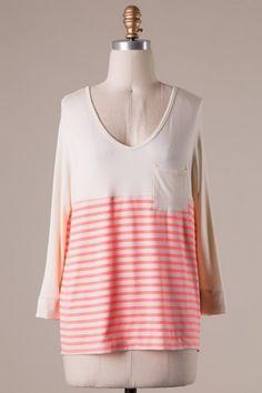 (RK3B3) Long sleeve color block stripe detailed jersey top