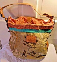 FOSSIL Floral Canvas leather Purse Tote Handbag Boho Hobo Shoulder Bag  #Fossil #Hobo