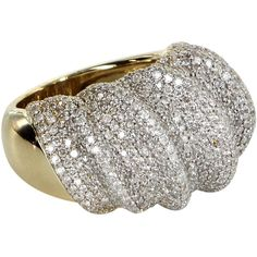 Pre-Owned 4.20ct Pave Diamond Cocktail Ring Vintage 18k Yellow Gold (€4.015) ❤ liked on Polyvore featuring jewelry, rings, yellow gold, statement rings, yellow gold cocktail rings, yellow gold pave diamond ring, 18k gold jewelry and 18k ring