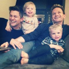 "Kids: 3-year-old twins Gideon Scott and Harper Grace Why Him? We love that Neil and his partner, David Burtka, were one of the first openly gay couples to have babies via surrogate in Hollywood. When asked about the twins on Katie Couric's talk show last June, Harris replied, ""They can say words and things, and it's great because if they say, 'More banana, please, Papa.' Well, when they say it like that, how can I say no?"" Source: Instagram user instagranph"