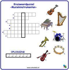 Kruiswoordpuzzel - muziekinstrumenten Music Education, Challenges, Coding, School, Spelling, Logo, Halloween, Crossword Puzzles, Vocabulary Practice