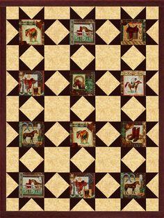 Horses Portraits Western Quilt Kit Precut Blocks from Quilt Kit ... : precut quilt kit - Adamdwight.com