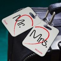 Giving luggage for a bridal shower or wedding gift?  Attach personalized luggage tags to the wrapped package.