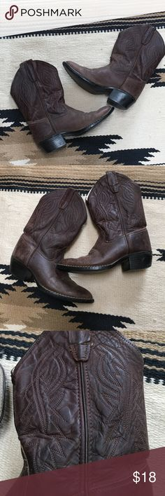 """Brown Leather Cowboy Boots These boots were my daughter's. She only wore them a few times and then outgrew them. They are Size 2 or 3. I can't find a size on them. Soles measure 8"""" long and 3"""" wide at the ball of the foot. They do have some wear and need to be polished up. Old West Shoes Heeled Boots"""