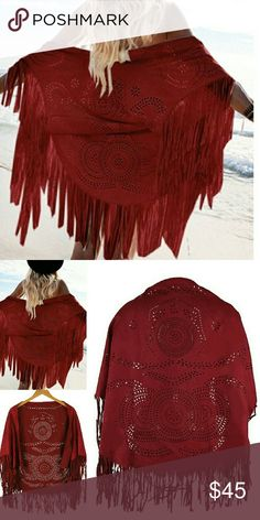 Beautiful Red Faux Suede Cutout Fringe Boho Kimono NEW! Lovely fully fringed red bohemian kimono with ethnic design lazer cut outs throughout. Must have for your boho, festival, coachella, cowgirl wardrobe! Jackets & Coats Capes