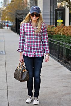My absolute favorite outfit to wear besides yoga pants. Baseball Hat, plaid shirt, jeans, sneakers, or boots.