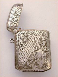1908 English Sterling Vesta Heavily Engraved WWW Monogram Match Safe found on Ruby Lane