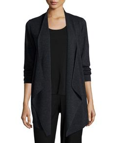 Eileen Fisher Jersey Cascading Cardigan, Plus Size, Women's, Size: 1X (14/16), Grey
